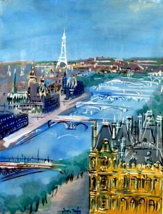 """Paris 1950. Jean Dufy ((1888-1964) was the younger brother of Raoul Dufy. From the age of 14, Jean exhibited his artistic abilities which were encouraged by his brother Raoul, and Raoul's friend A.E. Othon Friesz. Jean also painted theater sets. However, judging by his many scenes of Paris, it was the location that for him was most fascinating: """"the streets, the horse-drawn carriages, the Eiffel Tower, the sky, and the Seine."""