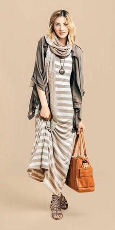 Maxi dress scarf and cardigan