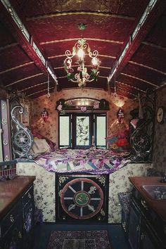 Caravan Gypsy Vardo Wagon: Inside a wagon. Gypsy Home, Bohemian Gypsy, Gypsy Style, Bohemian Style, Gypsy Chic, Gypsy Decor, Bohemian Decor, Gypsy Caravan Interiors, Gypsy Wagon Interior