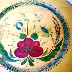 Vintage Scandinavian Wood Plate - Floral Folk Art