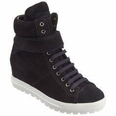 Miu Miu Side Zip Hidden Wedge Sneaker at Barneys.com