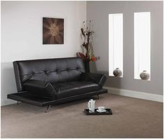 A new sofa bed available in faux leather and a choice of black or dark brown.