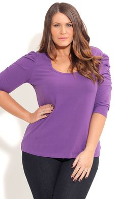 City Chic PUFF SLV BASIC TOP-Women's Plus Size Fashion