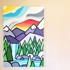 """Title: Made It Size: 36"""" x 24"""" Acrylic on Canvas Price: $550 Inspired by that feeling when you make it to the end of the hike to see the waterfall. If interested please email me at leannespanza@gmail.com"""