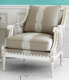 love the lace and cream colored chair
