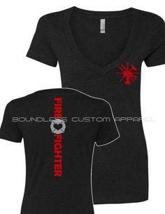 Firefighter Shirt FireWoman Shirt Ladies by BoundlessCustom Firefighter Apparel, Firefighter Paramedic, Female Firefighter, Custom T Shirt Printing, Custom Clothes, Shelter, Fire Dept, Fire Department, Trending Outfits