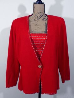 St John Marie Gray jacket evening top art to wear artsy red designer upscale XL #StJohnMarieGray #BasicJacket