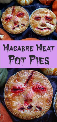 Halloween never looked so creepy, but oh so tasty. Sirloin steak braised with rosemary and vegetables and baked inside a flaky English Wig crust, a perfect and very tasty savory Aussie Meat pot pie. Noche Halloween, Halloween Foods, Halloween Dinner, Halloween Food For Party, Halloween Treats, Holiday Pies, Holiday Recipes, Fun Food, Good Food