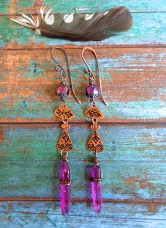 Alexandria ~ Hand stamped copper earrings with natural crystal shards by qisma @ Etsy