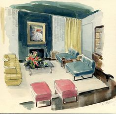 MIDCENTURY MODERN Interior Design Original Watercolor Signed STUNNING on Etsy, $145.00