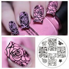 1 Set Nail Art Rose Flower Stamping Template, Image Plate  Nail Stamping Plates Manicure Stencil Set (Etsy) by NailOfLady on Etsy