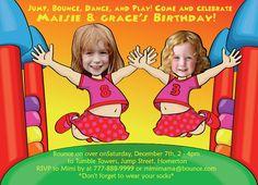 Bounce House Birthday Invitation for 2 children by SandyFordDesign, $20.00