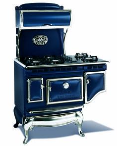Reproduction 1867 antique range. Love the blue.