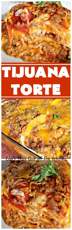 This fabulous Tex-Mex casserole is as good as it gets! It's layered with corn tortillas and contains chicken, diced tomatoes with green chilies, cream of mushroom and chicken soup and lots of cheese! This is a terrific casserole for company. Carnitas, Tamales, Mexican Dishes, Mexican Food Recipes, Enchiladas, Baked Tacos Recipe, Taco Lasagna, Frito Pie, Taco Bake