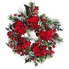 @Overstock - Get into a festive state of mind with the help of this red hydrangea wreath. This wreath brings the majestic spirit of the outdoors inside. Its an energetic and tasteful decoration that can either be hung up or used as a centerpiece for a table.http://www.overstock.com/Home-Garden/Festive-Hydrangea-Wreath/3437669/product.html?CID=214117 $34.99