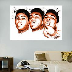 Muhammad Ali Face Illustration Mural Fathead Wall Decal