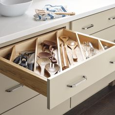 Top 5 Cabinet Storage and Organization Accessories Every Kitchen Should Include — Nicole Janes Design Kitchen Utensil Organization, Kitchen Storage, Utensil Organizer, Organize Kitchen Utensils, Kitchen Organizers, Organized Kitchen, Cooking Utensils, Cooking Tools, Kitchen Drawers