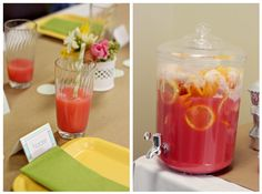 Yummy punch! 2 liters of 7UP and 2 tubs of raspberry sherbet, add lemons, oranges and grapefruit slices