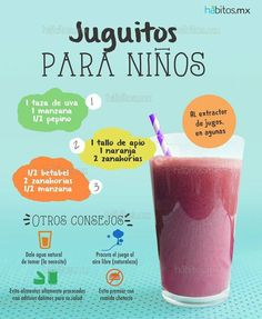 sucs per a infants Healthy Juices, Healthy Smoothies, Healthy Drinks, Smoothie Recipes, Diet Drinks, Milk Shakes, Rose Brown Hair, Toddler Lunches, Lunch Kids