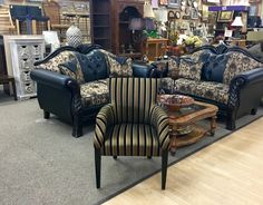 FIND FURNITURE THAT FITS YOUR STYLE, ARRIVING DAILY AT NEW USES: Fabulous Black & Gold Armchair in Excellent Condition- $99. Open until 8pm!