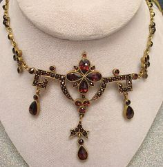 Art Deco Bohemian Garnet necklace with Etruscan design