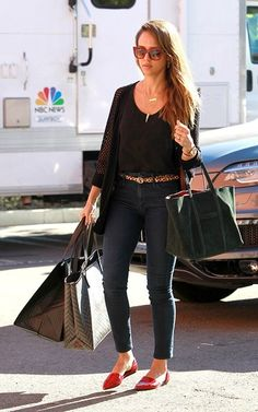 Jessica Alba wearing Jenni Kayne D'Orsay Flats Jennifer Meyer Personalized Nameplate necklace One Grey Day Aspen Cardigan in Onyx Misela Edna tote