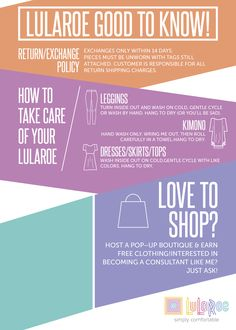LuLaRoe Good to Know info! Care instructions, exchange policy, Earn free clothing, Become a consultant.   www.facebook.com/lularoecarolsendelbach
