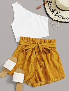 One Shoulder Rib-knit Top & Paperbag Waist Striped Belted Shorts Set Cute Lazy Outfits, Teenage Outfits, Crop Top Outfits, Pretty Outfits, Stylish Outfits, Cool Outfits, Cotton On Outfits, Girls Fashion Clothes, Summer Fashion Outfits