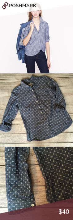 J. Crew Circle Print Chambray Popover Pullover style. Button front detail. Chest pocket. Tailored fit. Long sleeves. 100% cotton. Excellent condition. J. Crew Tops