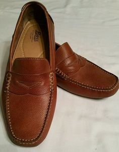 fc572b53ea7 GH Bass Monte Men s Brown Leather Driving Loafers Mocs Slip On Shoes Sz  11.5 M