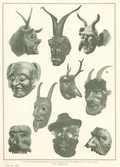 Some of the Masks worn by Perchten Dancers of Salzburg