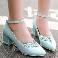Blue Point Toe Chunky Rhinestone Buckled Fashion High-Heeled Shoes