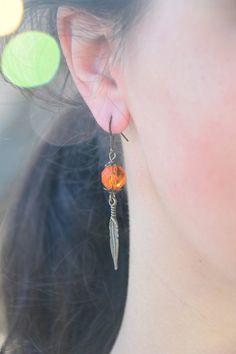 Feather earrings Gypsy hippie earrings Boho earrings by Estibela