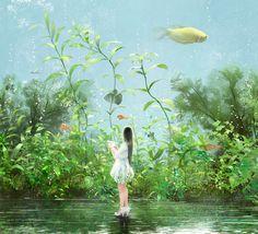Hồ cá Sketch - Aquarium phác thảo ban đầu _ hi Thiên đường Book girl tươi cá vàng nhà máy trẻ _ Graffiti Kingdom