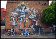 by Akut Herakut, the member of MA'CLAIM Team, 2012. *Maclaim Team (MA'CLAIM) based in Germany: Andreas von Chrzanowski (aka Case), Germany; Akut (Herakut); Rusk; Tasso. #streetart