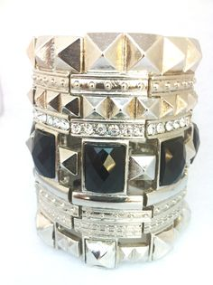 Wide Silver Stretch Bracelet with Black Stones and Rhinestones