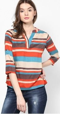 Roposo.com - Latest multicolour striped and horizontal-striped crepe three-quarter-sleeve henleys online raindrops multi printed blouse