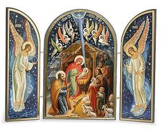 Browse Monastery Icons for the gorgeous Christmas Icons, such as this Russian Nativity Triptych. Religious Gifts, Religious Icons, Religious Art, Monastery Icons, Russian Icons, Christmas Icons, Byzantine Art, Christmas Nativity, Merry Christmas