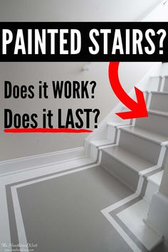 Painted Stair Treads Pros and Cons - how durable are painted stairs? How do painted stair treads hold up over time? What are the pros and cons of painting stairs? Painted Wood Stairs, Painted Hardwood Floors, Hardwood Stairs, Wood Stair Treads, Treads And Risers, Stair Risers, Entryway Stairs, Basement Stairs, Tiled Staircase