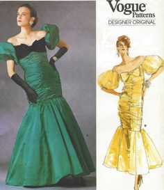 1980s Bellville Sassoon Womens Red Carpet Evening Dress Vogue Sewing Pattern 1819 Size 12 Bust 34 UnCut Prom, Bridal or Pageant Dress