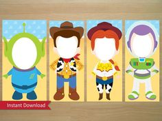 Toy Story Photo Booth Prop (Buzz, Woody, Jessie & an Alien) - Instant… Toy Story Theme, Toy Story Birthday, Toy Story Party, Cumple Toy Story, Festa Toy Story, Woody And Jessie, Toy Story Cakes, 3rd Birthday Parties, Birthday Ideas