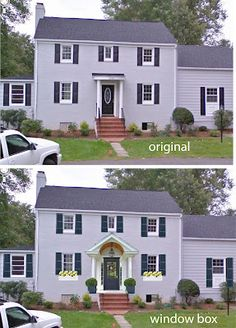 Find this Pin and more on Garrison colonial exterior by heidsal. Colonial House Exteriors, Colonial Exterior, Colonial House Plans, Exterior Houses, Exterior Doors, Exterior Paint, Portico Entry, Front Entry, Colonial Front Door