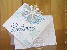 A diamond-fold Christmas card using the gorgeous Snowflake Soiree stamp set from the Holiday Catalogue (page 5).