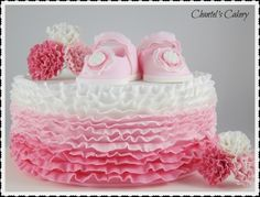 Ruffles and Shoes Baby Shower or Baptism Cake