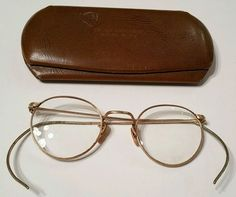 e1ce77e236c Antique 12k GF Gold Wire Rim Eye Glass Frames granny eyeglasses w case