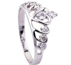 New 925 Silver Wedding Ring Crown Ring,Austria Crystal Genuine SWA Elements,925 Sterling Silver Brand Engagement Ring TR12