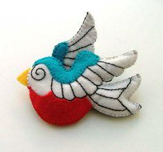 Sailor Tattoo Swallow Bird Brooch  on etsy