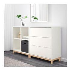 EKET Cabinet combination with legs White/light grey 140 x 35 x 80 cm - IKEA Ikea Bedroom, Bedroom Furniture, Home Furniture, Bedroom Decor, Luxury Furniture, Room Interior, Interior Design Living Room, Ikea Eket, Ikea Hack