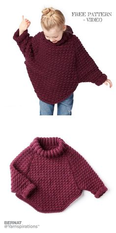 Curvy Crochet Cowl Pullover Sweater Free Crochet Patterns - 6 years kids for kids sweaters Crochet Curvy Crochet Cowl Pullover Sweater Free Crochet Patterns - Video Crochet Girls, Crochet Baby Clothes, Crochet For Kids, Free Crochet, Crochet Jumper Free Pattern, Baby Sweater Patterns, Shrug Pattern, Kids Knitting Patterns, Knitting For Kids