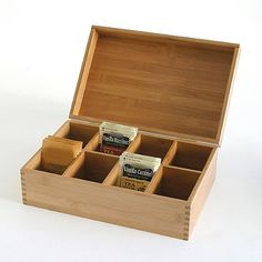 2bed09832 Lipper International 8-Compartment Bamboo Tea Box Almacenamiento De Té,  Cajas De Almacenamiento,